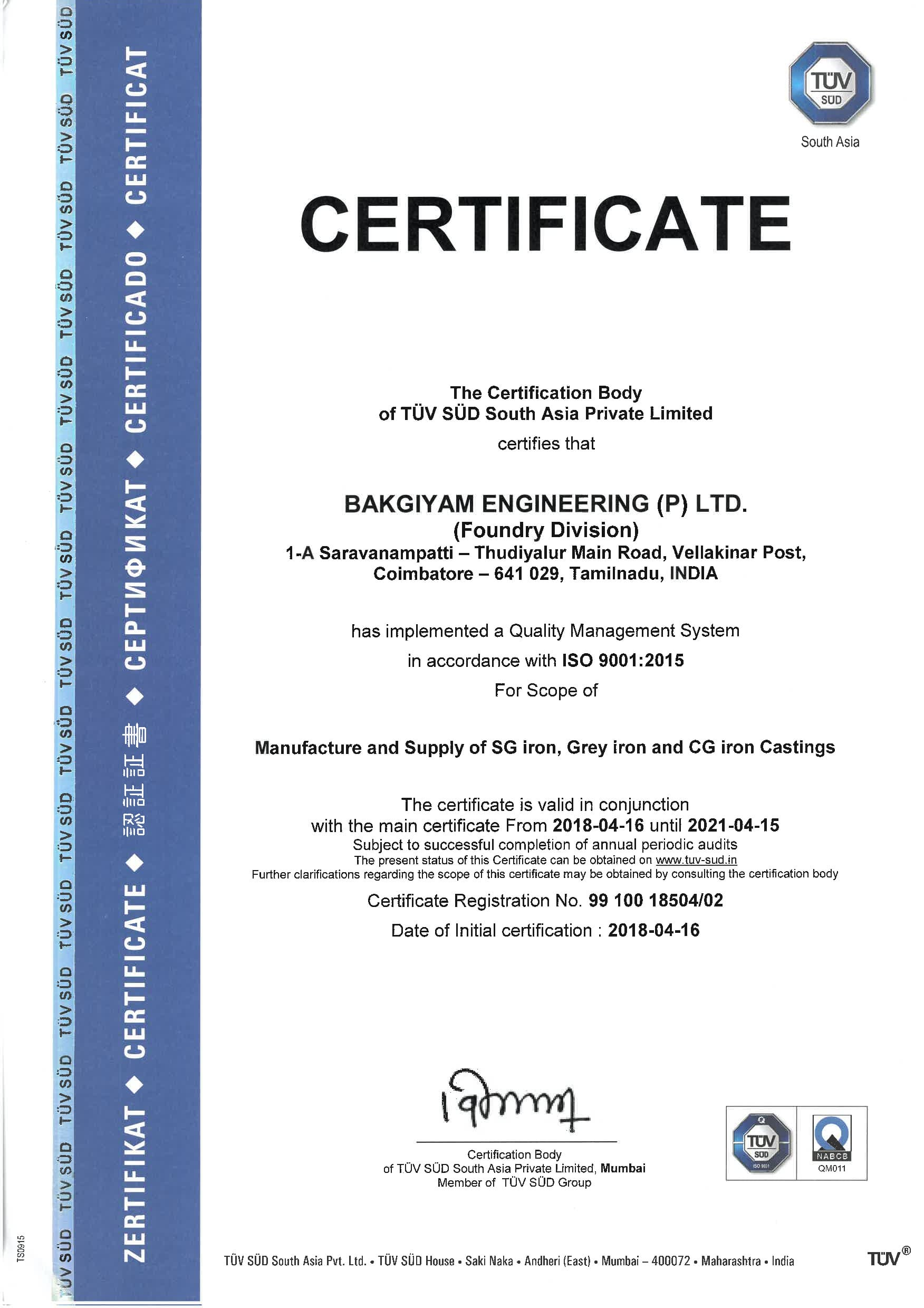 Foundry Division Certificate - Manufacture and supply SG iron, Grey iron, CG iron casting