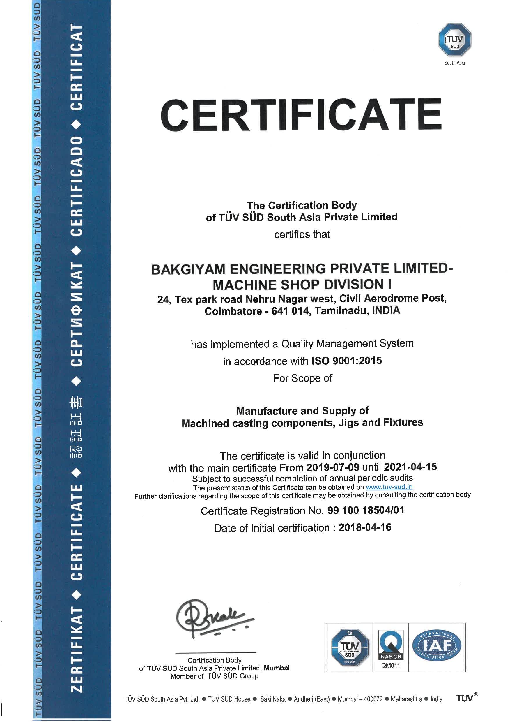 Machine Shop DIvision I Certificate - Bakgiyam Engineering